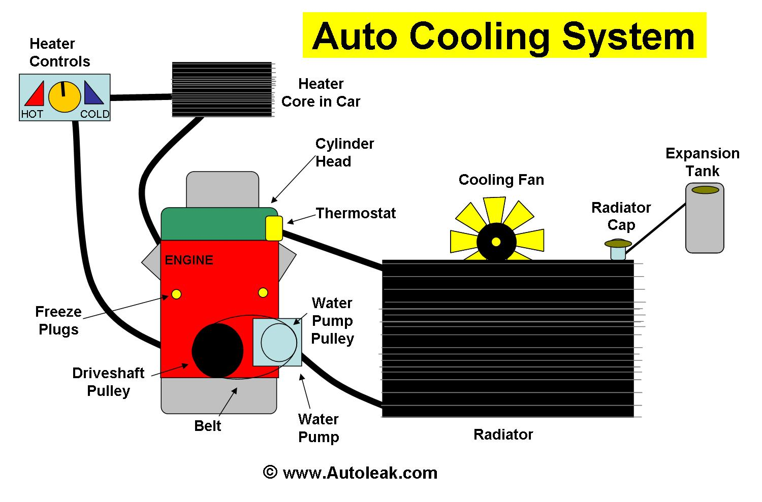 Cooling System Antifreeze Coolant Leak - Orange or Green = Coolant